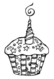 Cupcake Clip Art Black And White For Happy Birthday