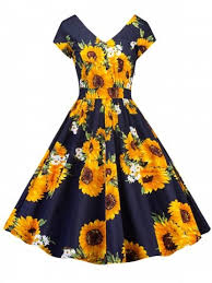 Vintage Sunflower Print Skater Pin Up Dress