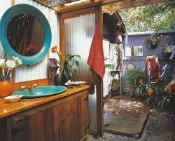bohemian summer bathroom inspiration aussenbad bad