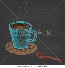 Colored Cup Of Coffee On A Wooden Stand And Spoon With Grains Drawn