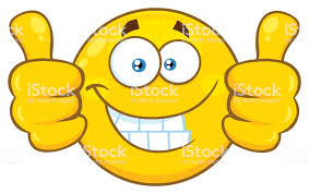 Smiling Yellow Cartoon Emoji Face Character Giving Two Thumbs Up Royalty Free