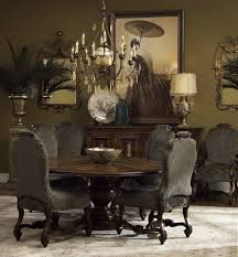 Brown Dining Room Set With Gorgeous Wooden Side Board And Round Table Under Wrought Iron