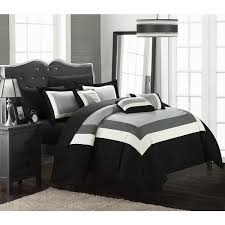 Chic Home Darren Black White 10 Piece Bed in a Bag with Sheet Set