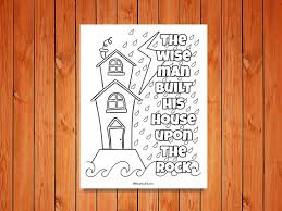 Matthew 5 7 Sermon On The Mount Wise Foolish Builder Coloring Page
