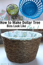 Decorating Fabric Storage Bins by How To Make Dollar Tree Storage Bins Look Like Pier 1 Glue Guns