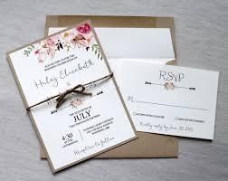 Floral Wedding Invitation Rustic Modern Elegant Watercolor Bohemian Watercolour
