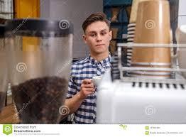 Download Young Handsome Barista Hipster Making Coffee Cafe Man Machine Grains Hot Steam Milk Shirt Espresso