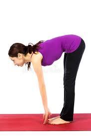 Download Woman In Standing Half Forward Bend Pose Yoga Stock Image
