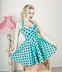 50s Polka Dot BigWhiteDots Red Halterneck Swing Dress 81605