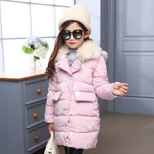 girls winter long coat outerwear light pink red blue coat with