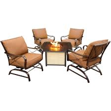 Hanover Summer Nights 5-Piece Patio Fire Pit Conversation Set With ... Hanover Summer Nights 5piece Patio Fire Pit Cversation Set With Amazoncom Summrnght5pc Zoranne 4 Chairs Livingroom Table With Outdoor Gas And Tables Sets Fniture Fresh Ding Shop Monaco 7piece Highding 6 Swivel Rockers And A The Greatroom Company Kenwood Linear Height Alinum Cheap Chair Beautiful Comet 8 Wicker Chat Tank Awesome Top 10 Envelor Oval Brown 7 Piece Poker Stunning