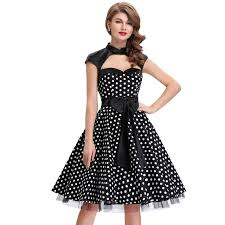Women Dresses Fashion Sexy Robe 50s Vintage Dress Black Vestidos Polka Dots Pinup Swing Hepburn Style