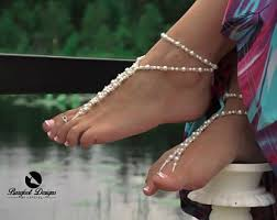 White Pearl Barefoot Sandal Crystal Bridal Wedding Jewelry Prom Soleless Shoe Beach Bridesmaid Gift Bare
