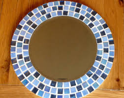 Blue Mosaic Bathroom Mirror by Blue Mosaic Mirror Round Wall Mirror Large Mirror In Blue