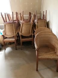 rattanstuhl braun armlehne retro esszimmer lounge loft stühle korb sessel
