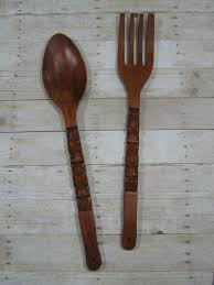 large wooden fork and spoon wall hanging wall decor awesome wooden spoon and fork wall decor wooden spoon