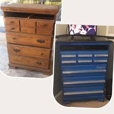 Old dresser turned into a faux tool box for my son s race car