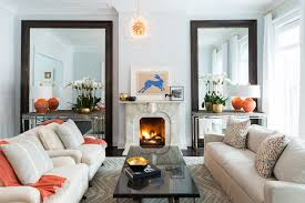 blue and orange living rooms transitional living room