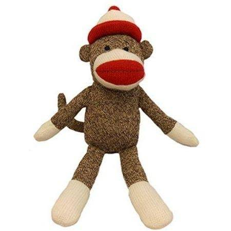 Lulubelles Holiday Santa Sock Monkey Jolly Dog Toy - 7.5""