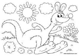 Australian Summer Kangaroo Free Colouring Page Printable