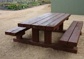 custom built solid wooden timber tables outdoor garden furniture