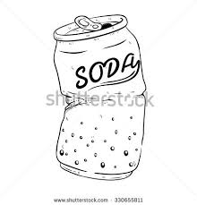 Black And White Broken Soda Can With Doodle Sketchy Style