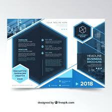 Tri Fold Brochure Template Microsoft Word 2010 Folding Flyer Modern Blue Free Vector