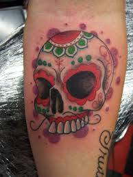 MEXICAN FLAG COLORS SUGAR SKULL By TANQUE86