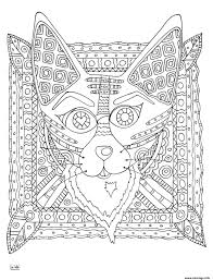 Coloriage Fox With Tribal Pattern Adulte JeColoriecom