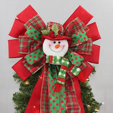 Plaid Snowman Christmas Tree Topper Bow