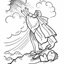 Moses On The Top Of Mount Sinai Receive Ten Commandments Coloring Page