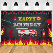 100 Fire Truck Birthday Party US 128 39 OFFtruck Backdrop Man Fighter Photography Background Boy Decorations Photo Bannerin