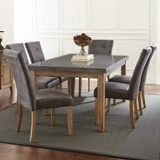 Debby 7 Piece Dining Set In Driftwood With Gray Chairs