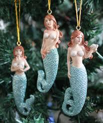 Seashell Christmas Tree Ornaments by Glitter Tail Mermaid Ornaments Set Coastal Christmas Holiday