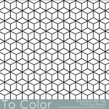 Printable Coloring Pages For Adults Geometric Repeating Pattern PDF JPG Instant Download