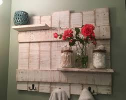 Rustic Towel Rack Wooden Bathroom Decor