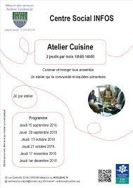 atelier cuisine centre social atelier cuisine calendrier