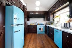 2014 Trend Turquoise Appliance For Brown Kitchen Decorating