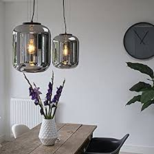 qazqa retro set mit 2 design hängele pendelle pendelleuchten schwarz mit rauchglas bliss wohnzimmer schlafzimmer küche rund