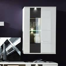 details zu wohnzimmer hängevitrine clou vitrine hängeschrank weiß hochglanz anthrazit led