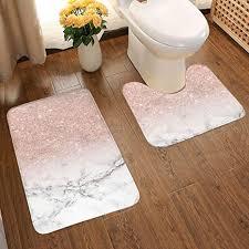badezimmerteppich set modern roségold rosa glitzer weiß