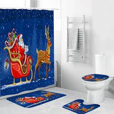 4 stück weihnachten thema badezimmer dekoration rutschfeste teppich toliet abdeckung badematte duschvorhang blau