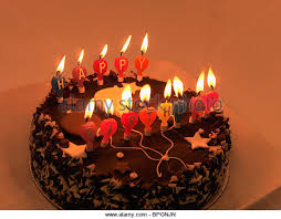 Chocolate Birthday Cake With Candles Stock Image