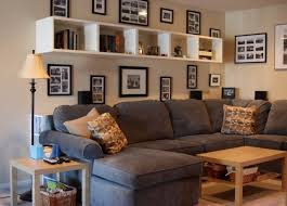 Wonderful Decorative White Wall Shelves For Living Room Glass Photo Frames Mounted Grey Microfiber Sectional