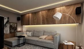 wandgestaltung wohnzimmer licht led leiste holz