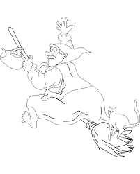 Halloween Coloring Page A Friendly Witch Carries Her Teapot And Cat On Broomstick As She Soars Through The