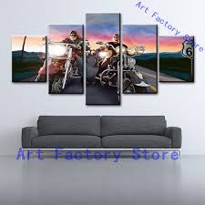 5 Panel Men Motor Harley Davidson Motorcycles HD Print Modern Painting House Canvas Wall Decor On