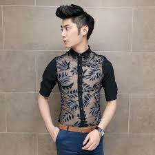 Newest 2014 Sexy Men Fashion Dress Shirt Slim Asian Man Spring Summer Clothing Party Club Wear 2299