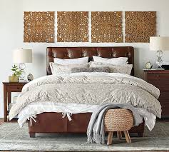 lorraine tufted leather low bed pottery barn