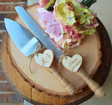 Personalized Rustic Wedding Cake Cutter And Knife Customized